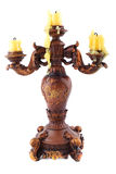 Wooden carved candlestick Royalty Free Stock Image