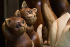 Wooden carved cat Stock Images