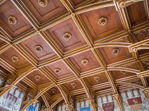 Wooden carved ceiling in Old Town Charles bridge tower, Prague, Czech Royalty Free Stock Image