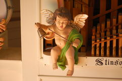 Wooden Carved Cherub on calliope Stock Image
