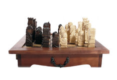Wooden carved chess pieces Royalty Free Stock Photography