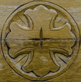 Wooden carved cross royalty free stock photos