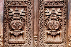 Wooden carved door detail Stock Photo