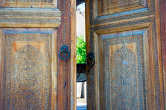 Wooden carved door, Samarkand Stock Photos