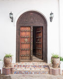 Wooden carved door in Stone Town, Zanzibar Royalty Free Stock Photography