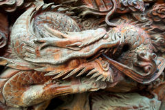 Wooden Carved Dragon Stock Images