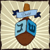 Wooden Carved Dreidel in Retro Poster, Vector Illustration Stock Photos