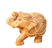 Wooden carved elephant isolated on white background. Wooden elephant isolated on white background Royalty Free Stock Image