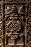 Wooden Carved goddess sculpture Royalty Free Stock Photos