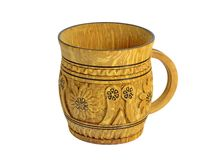 Wooden carved mug with pattern Royalty Free Stock Images