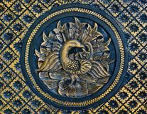 Wooden carved peacock stock images