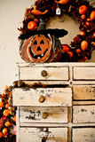 Wooden carved pumpkin Stock Image