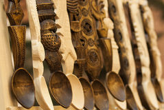 Wooden carved spoons. Romanian traditional wooden carved spoons Stock Image