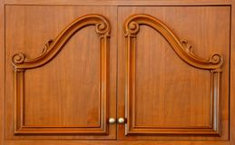 Wooden carved wardrobe doors Royalty Free Stock Images