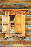 Wooden carved window jamb Stock Images