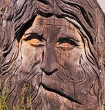 Wooden Carving of Face Royalty Free Stock Images