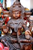 Wooden carving of goddess Stock Image