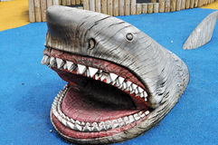 Wooden carving of a great white shark Royalty Free Stock Photo