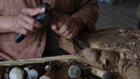 Wooden carving. stock footage