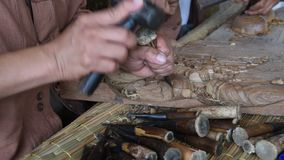 Wooden carving. stock video footage