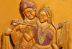 Wooden carving of Hindu god Sri Krishna and Goddess Radha. As is in mahabharata epic on January 8,2017 in Hyderabad,India Stock Image