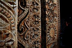Wooden carving at a indian temple. royalty free stock photo