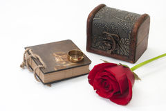Wooden Case, Red Rose, Notes And Gold Ring Royalty Free Stock Photography