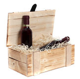 Wooden case with two bottles of red wine Royalty Free Stock Photos