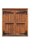 Wooden casement window with shutters closed. External side of a casement wooden window  with shutters closed isolated Stock Image