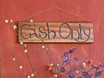 Wooden Cash Only Sign Stock Image