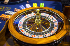 Wooden casino roulette Royalty Free Stock Image