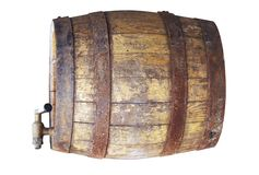 Wooden cask. Over white Royalty Free Stock Image