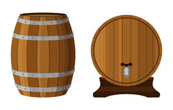 Wooden cask with rum. Cognac, brandy, scotch in cartoon barrel. Flat vector style stock illustration