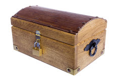 Wooden casket. Isolated on the white background Royalty Free Stock Photos