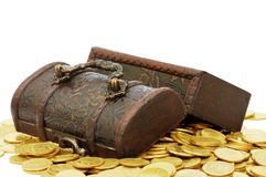 Wooden casket full of coins Royalty Free Stock Photo