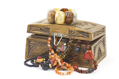 Wooden casket with jewellery Royalty Free Stock Images