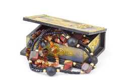 Wooden casket with jewellery Royalty Free Stock Image