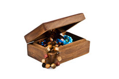 Wooden casket for jewelry Stock Images