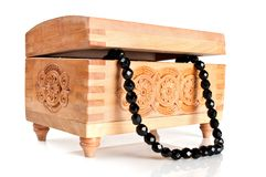 Wooden casket with jewelry Stock Photo