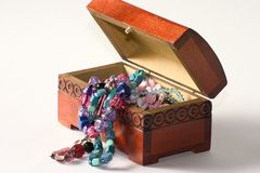 Wooden casket jewelry Royalty Free Stock Image