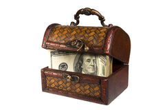 Wooden casket with money Stock Images