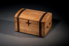Wooden Casket. Old Brown wooden Casket over grey background Stock Image
