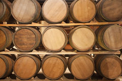 Wooden casks. In a vinery stock Stock Image