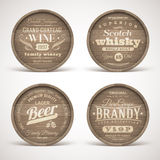 Wooden casks with alcohol drinks emblems stock illustration