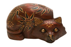 Wooden Cat Figurine Stock Image