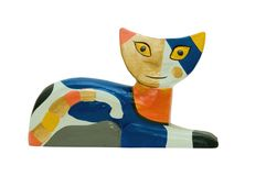 Wooden cat figurine Royalty Free Stock Photography