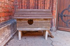 Wooden cat kennel in Riga, Latvia Royalty Free Stock Photo