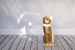 Wooden cat Stock Image
