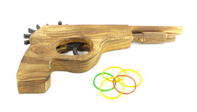 Wooden Catapult Gun. With rubber on white background Stock Photo