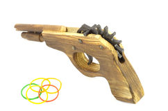 Wooden Catapult Gun with rubber. On white background Stock Photography
